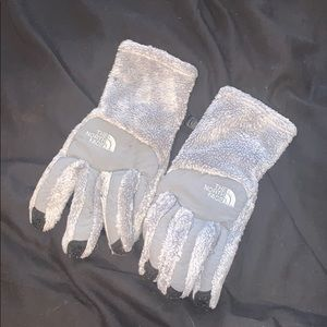Grey north face gloves